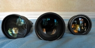 Les lentilles avant. respectivement, 140mm, 150mm et 105mm de diamètre !