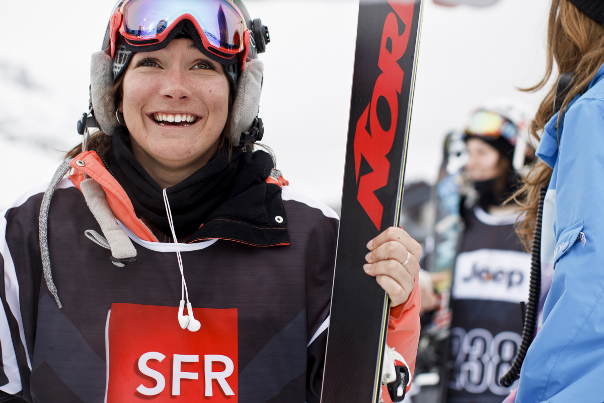Anais, happy with her silver medal at the Euro X Games in Tignes