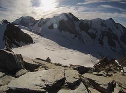 Vue sur le glacier depuis l'Aiguille de la Berengère