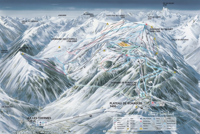 plan des pistes Ax 3 Domaines