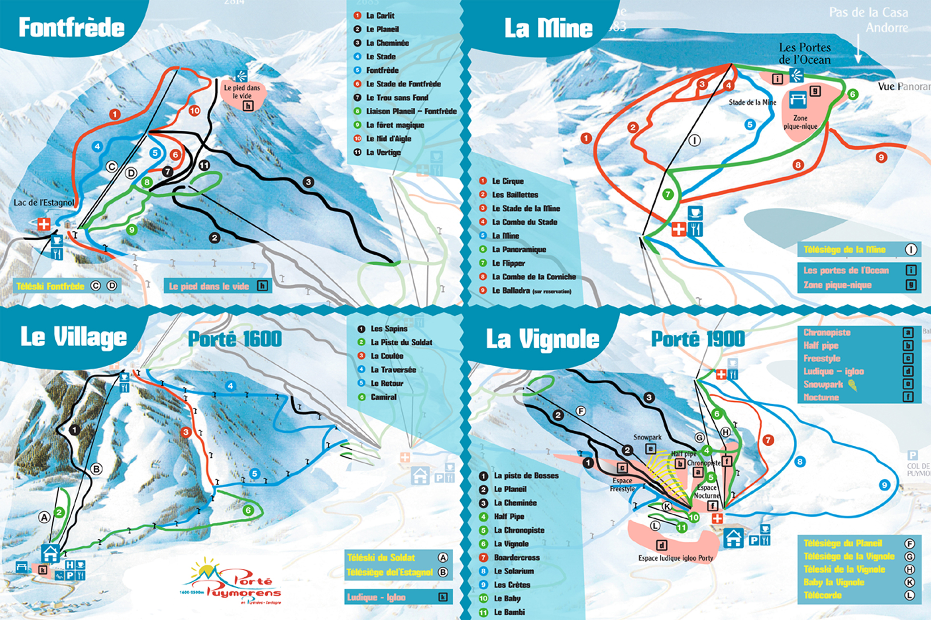 Plan des pistes port puymorens for Porte puymorens