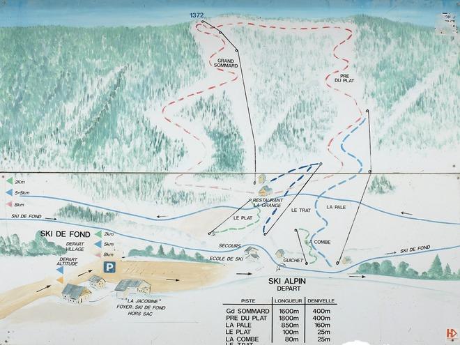 plan des pistes Le Sappey en Chartreuse