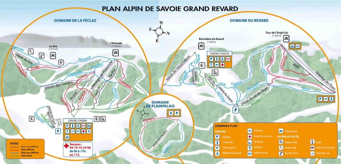 plan des pistes Savoie Grand Revard