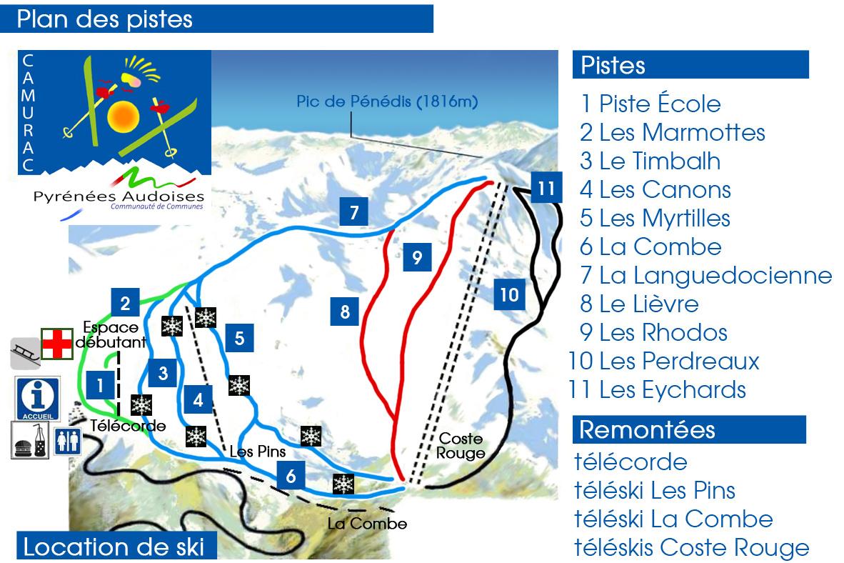 plan des pistes Camurac