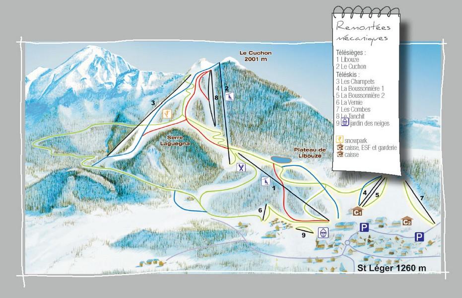 Plan des pistes st l ger les m l zes - Office du tourisme st leger les melezes ...