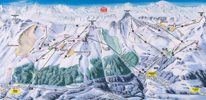 plan des pistes Grimentz - Zinal