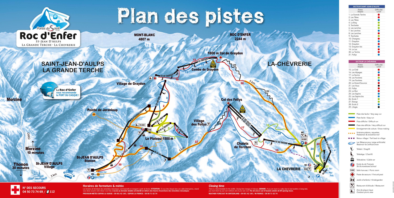 Plan des pistes roc d 39 enfer saint jean d 39 aulps - Saint jean d aulps office du tourisme ...