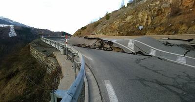 Route d'accès aux Pyrénées Orientales coupée