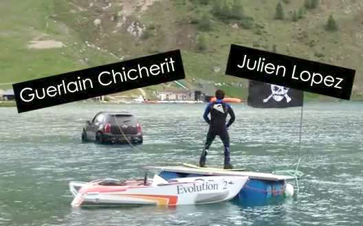 Wakeboard + voiture + lac