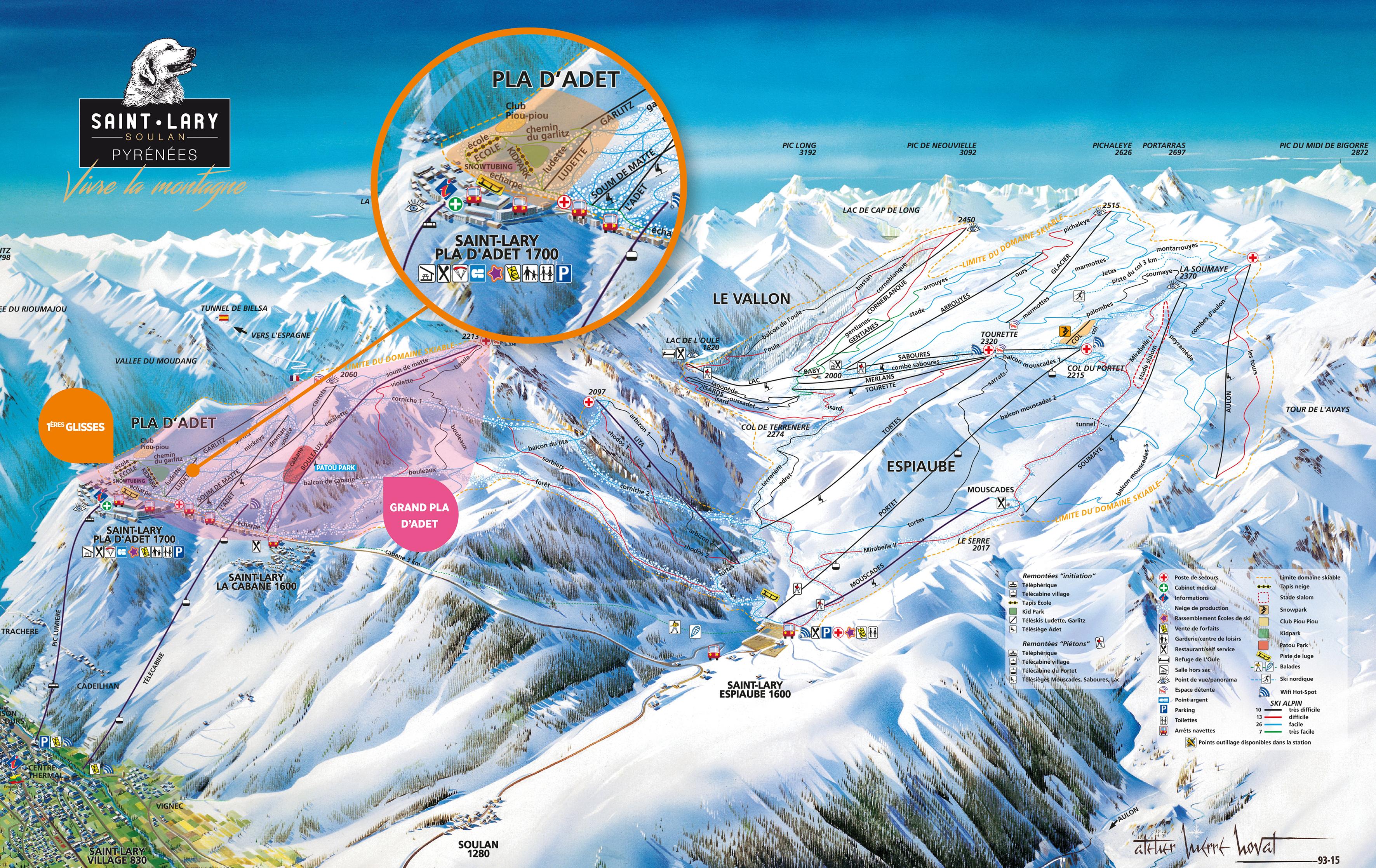 plan des pistes Saint Lary Soulan