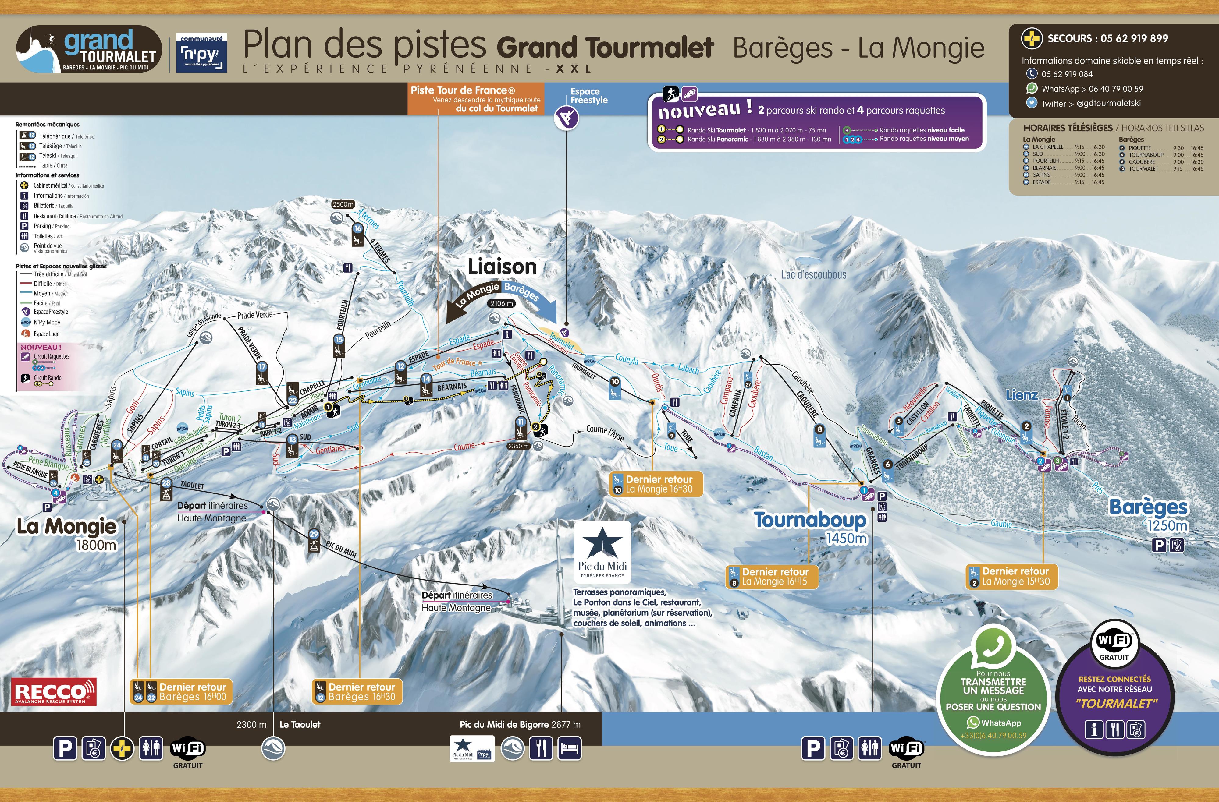 plan des pistes Grand Tourmalet (Barèges - La Mongie)