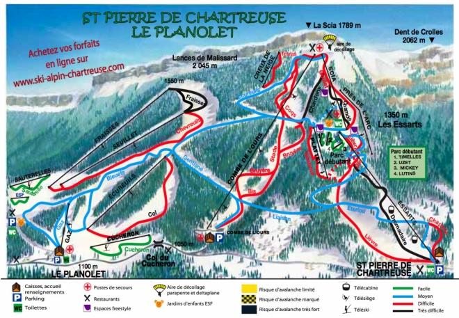 plan des pistes Saint Pierre de Chartreuse
