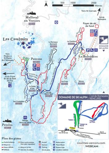 plan des pistes Les Coulmes en Vercors