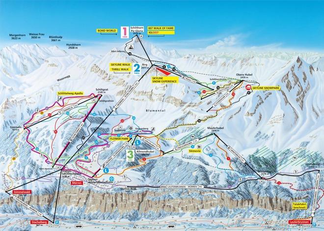 plan des pistes Mürren - Schilthorn