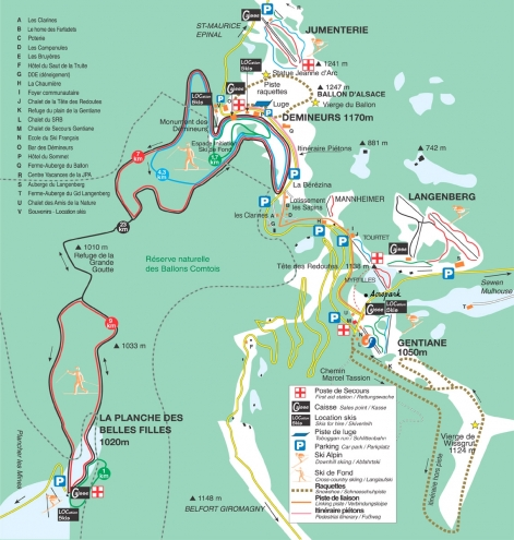 plan des pistes Le Ballon d'Alsace