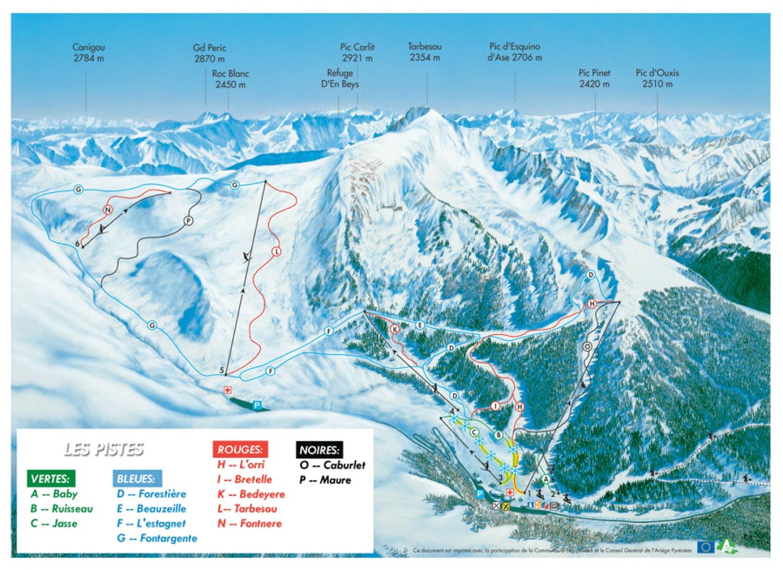 plan des pistes Ascou-Pailheres
