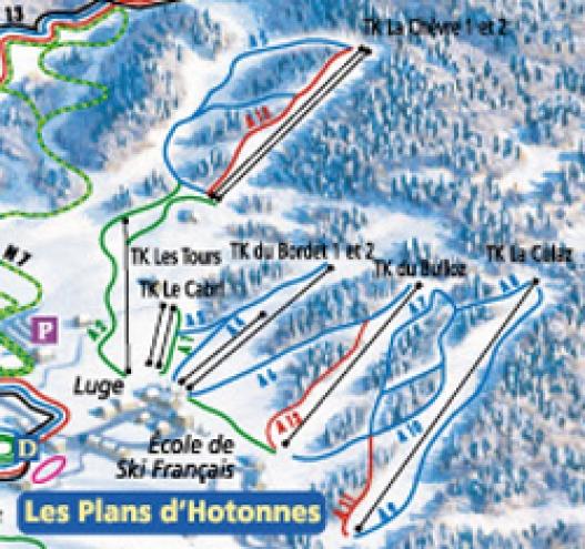plan des pistes Les Plans d'Hotonnes