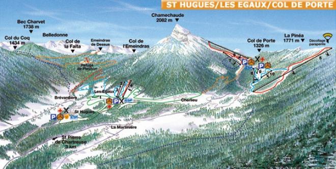 plan des pistes Saint Hugues Les Egaux