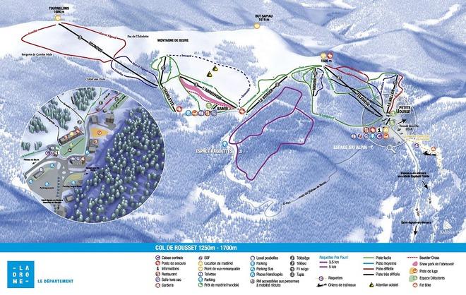 plan des pistes Col de Rousset