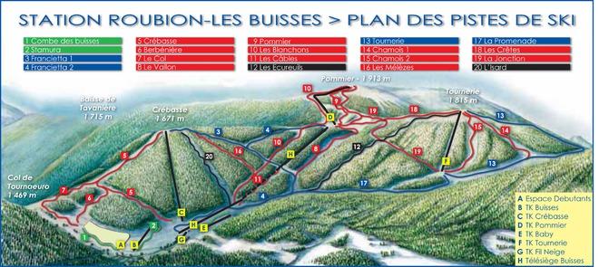 plan des pistes Roubion Les Buisses