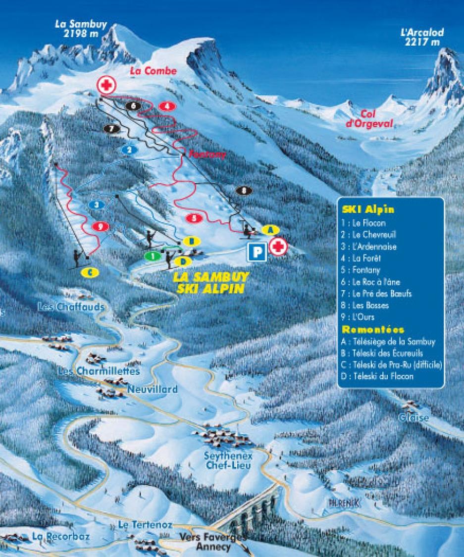 plan des pistes La Sambuy