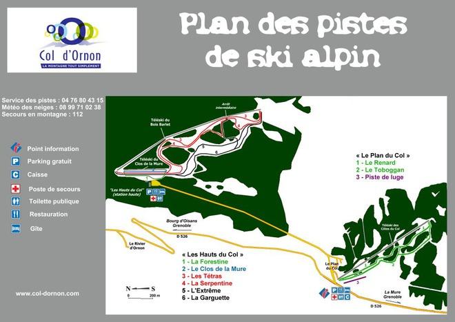 plan des pistes Col d'Ornon