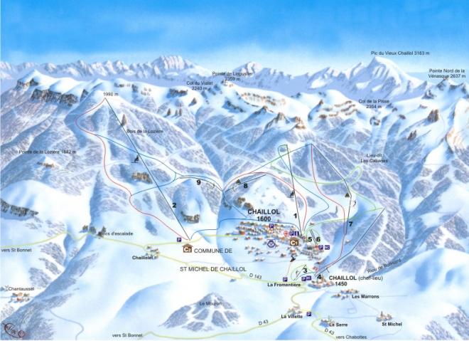 plan des pistes Chaillol