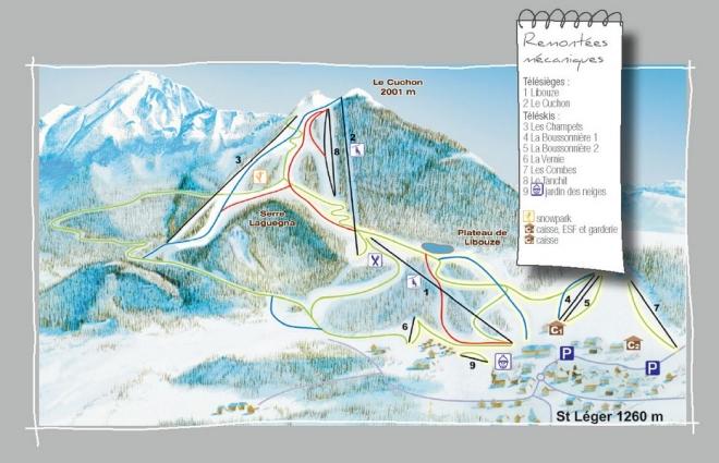 plan des pistes St Léger-les-Mélèzes