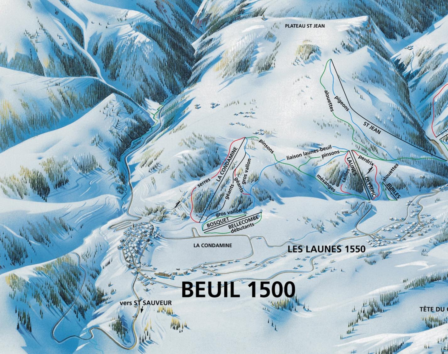 plan des pistes Beuil les Launes
