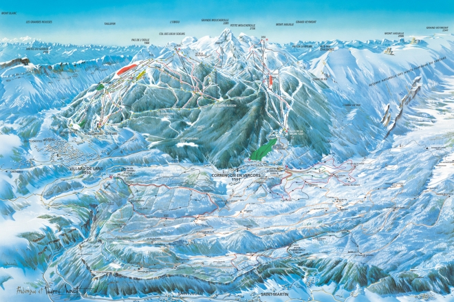 plan des pistes Corrençon en Vercors