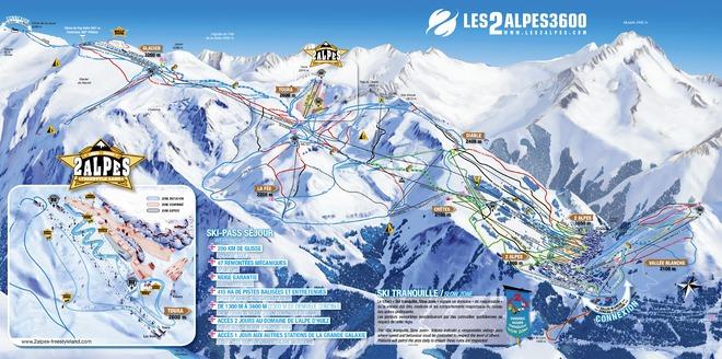 plan des pistes Les 2 Alpes