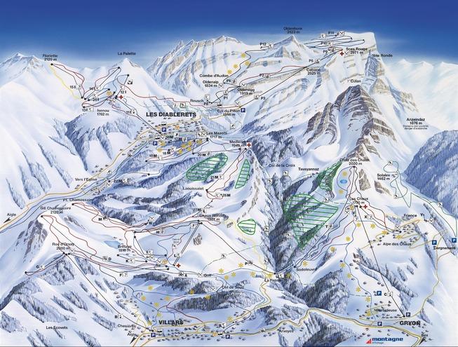 plan des pistes Les Diablerets - Glacier3000