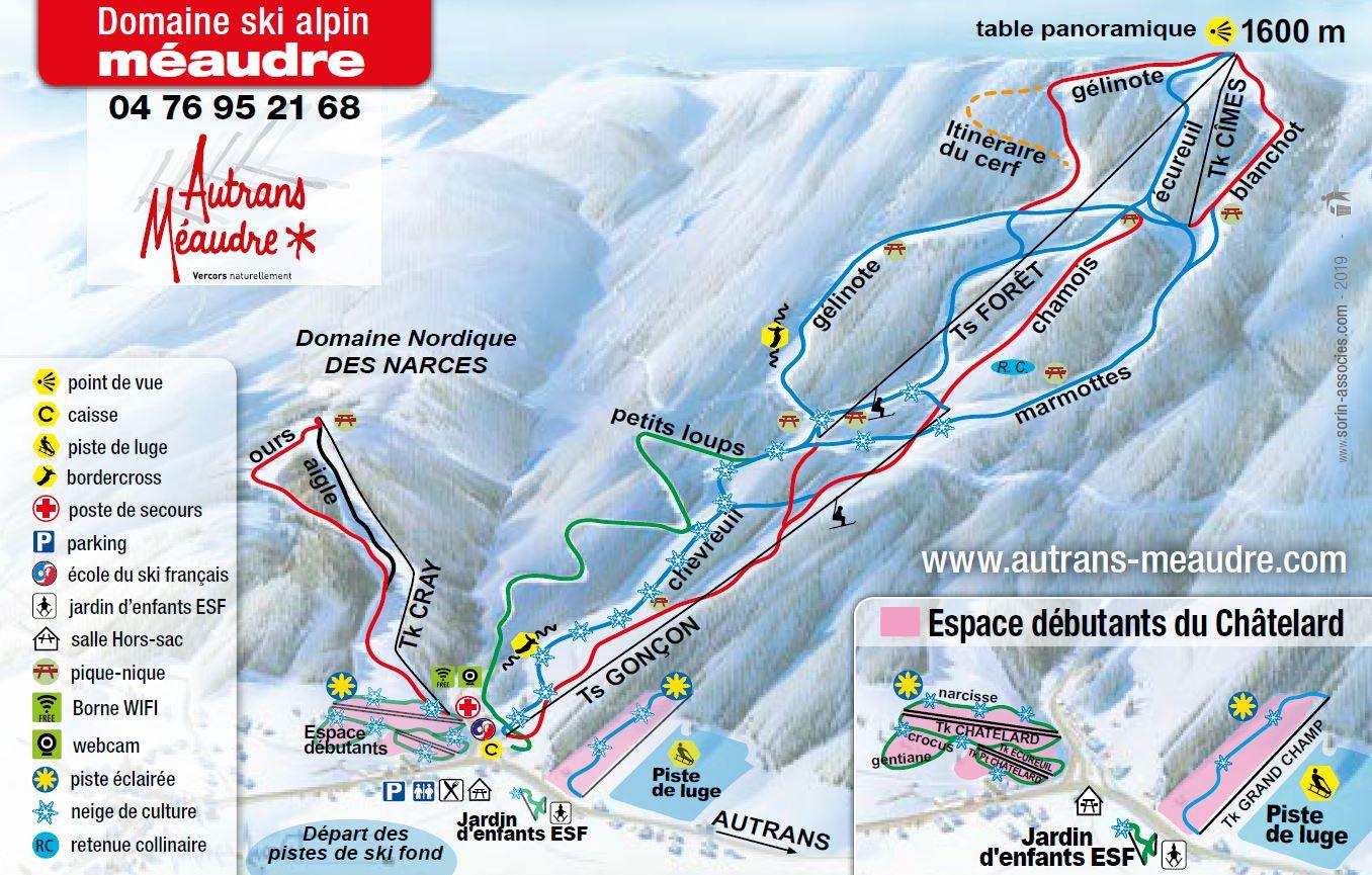 plan des pistes Méaudre