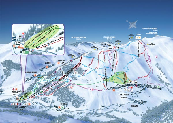 plan des pistes Molines en Queyras