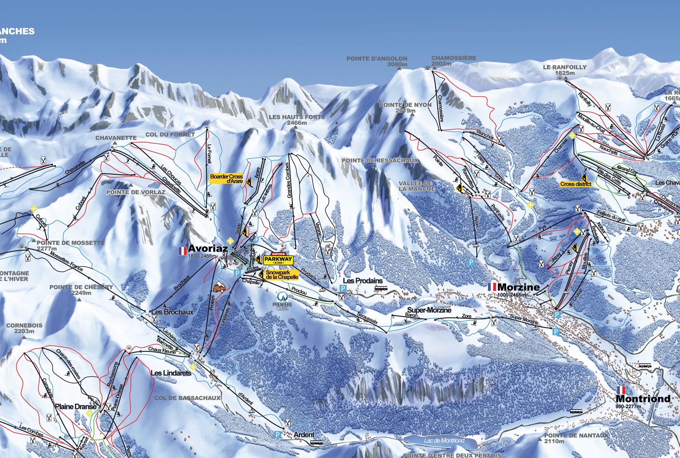 plan des pistes Montriond