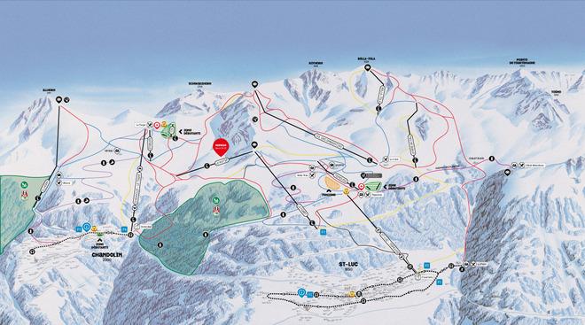 plan des pistes Saint-Luc / Chandolin