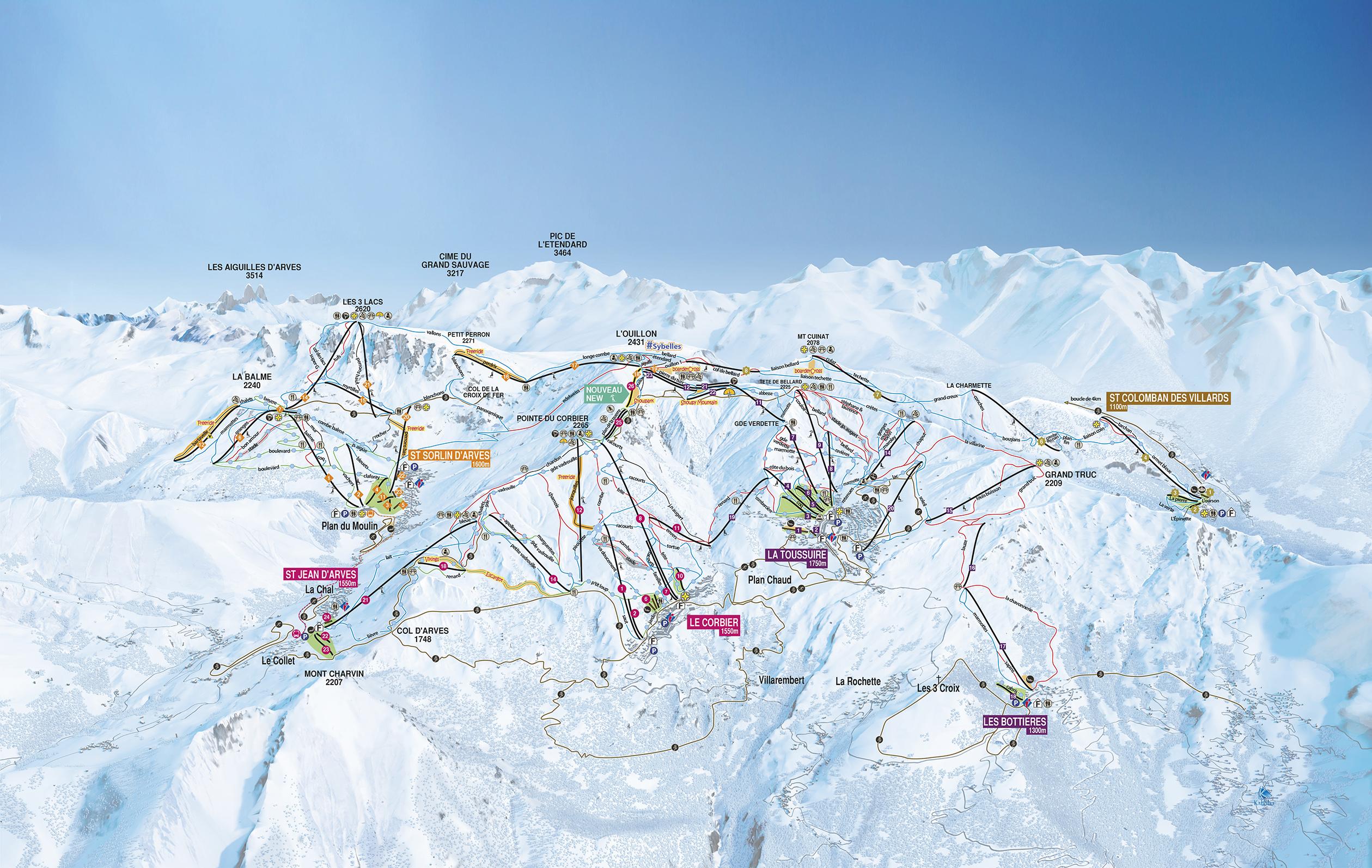 plan des pistes Saint Sorlin d'Arves