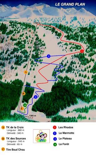plan des pistes Col du Barioz le Grand Plan