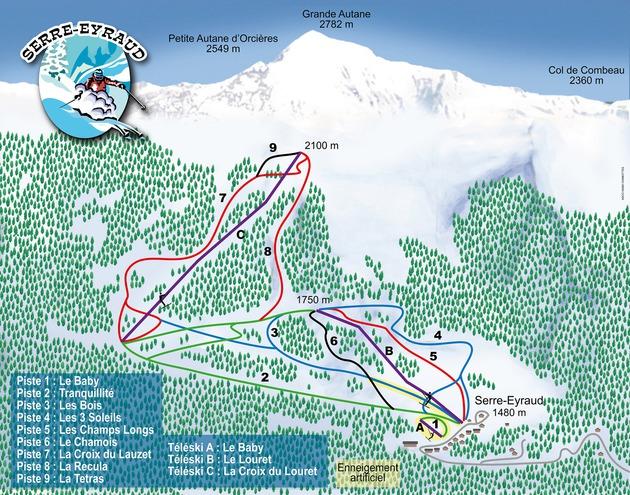 plan des pistes Serre Eyraud