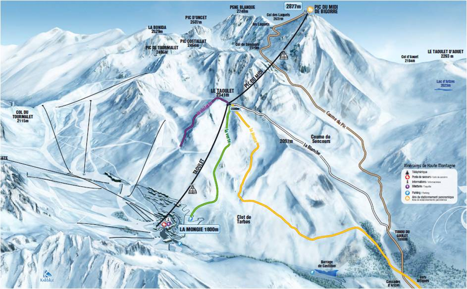 plan des pistes Pic du Midi de Bigorre