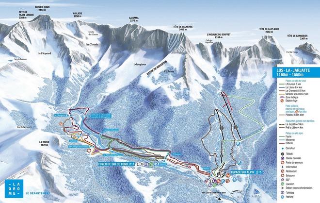 plan des pistes Lus la Jarjatte
